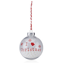 Clear & Red I Love Christmas Print Bauble