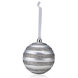 Matt Silver & Dark Grey Glitter Striped Bauble
