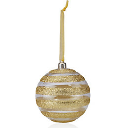 Clear & Gold Glitter Striped Bauble