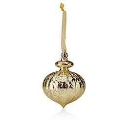 Distressed Finish Gold Classic Onion Bauble