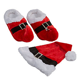 Santa Hat & Slippers Set