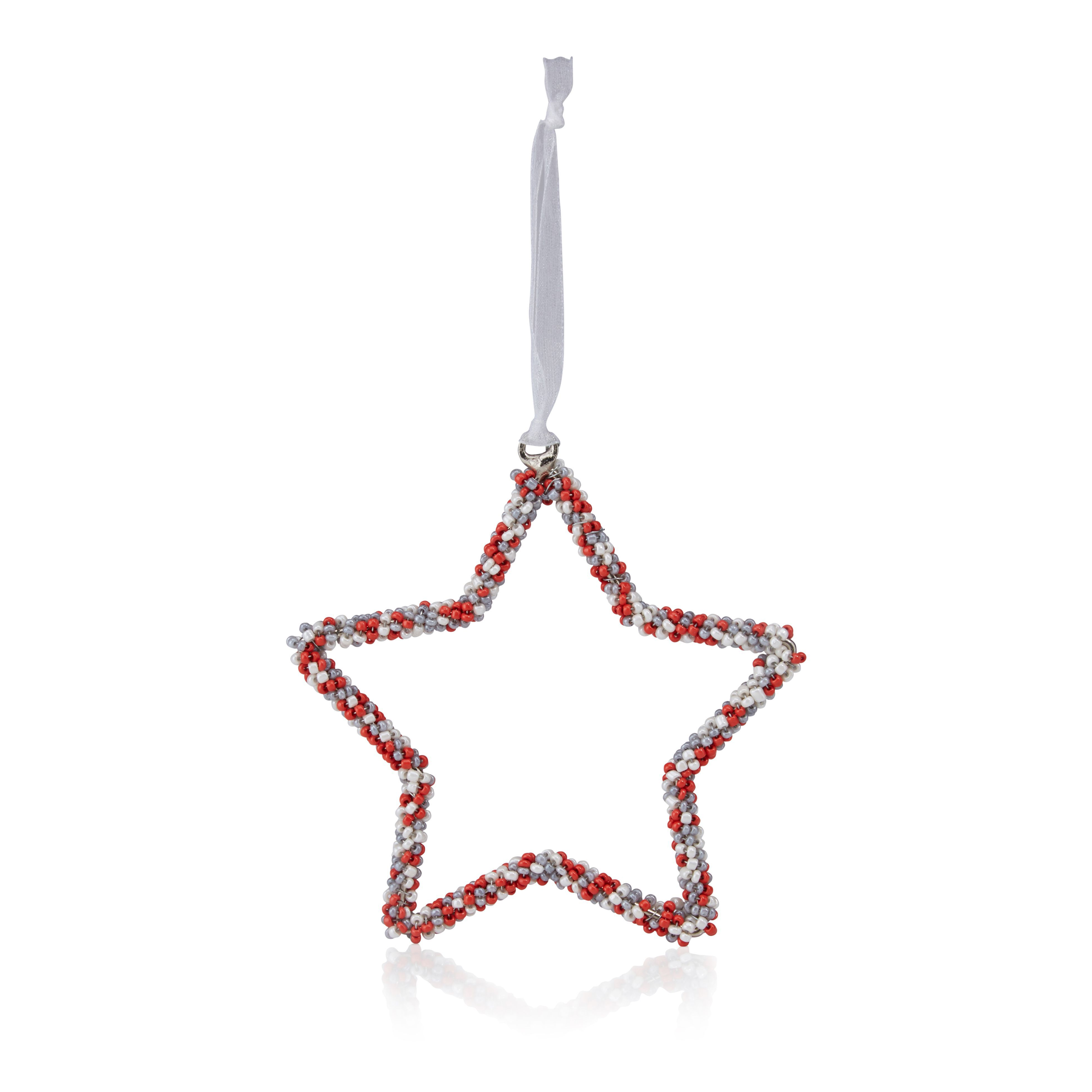 Red, White & Grey Beaded Star Tree Decoration