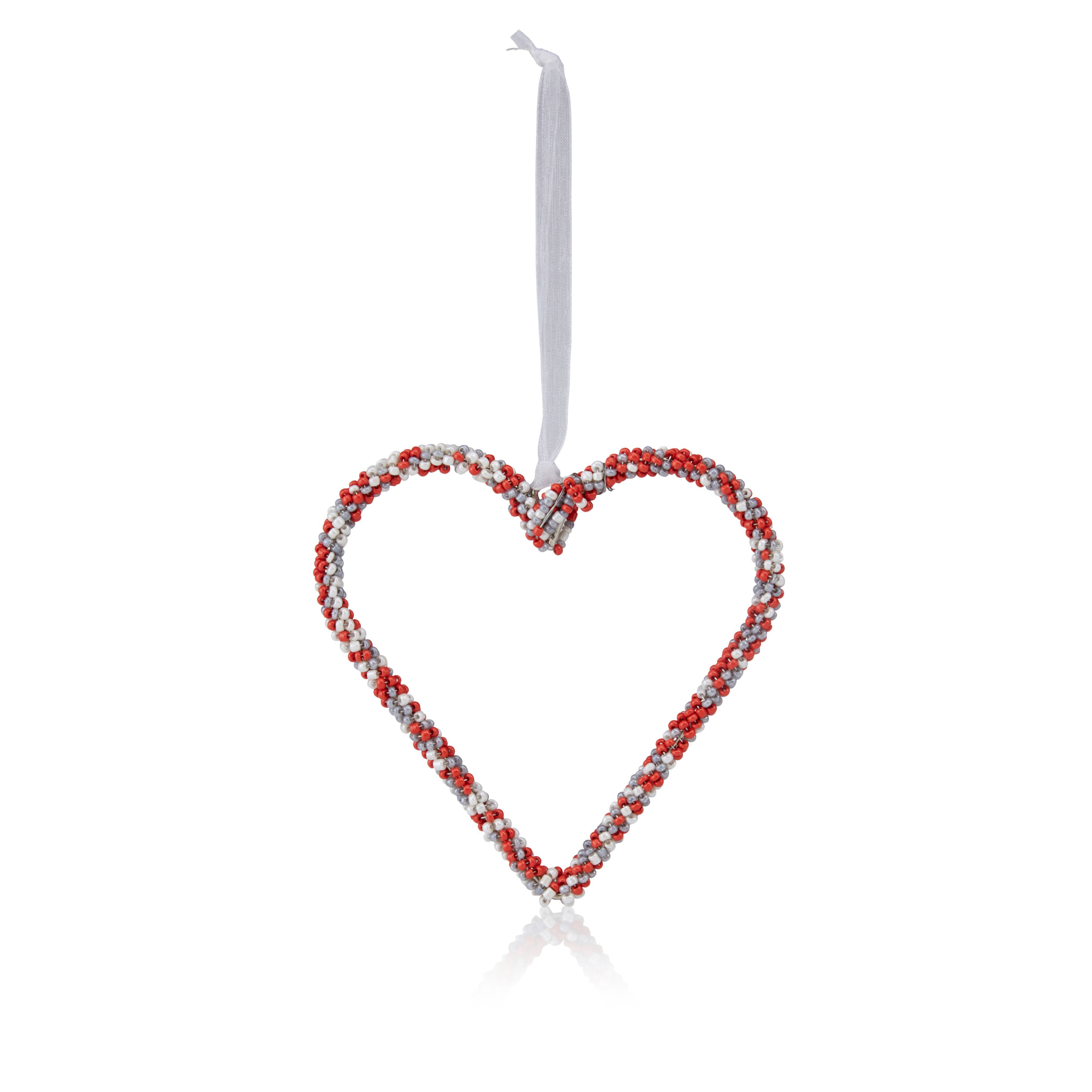 Red, White & Grey Beaded Heart Tree Decoration