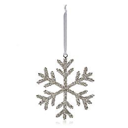 Beaded Silver Snowflake Tree Decoration