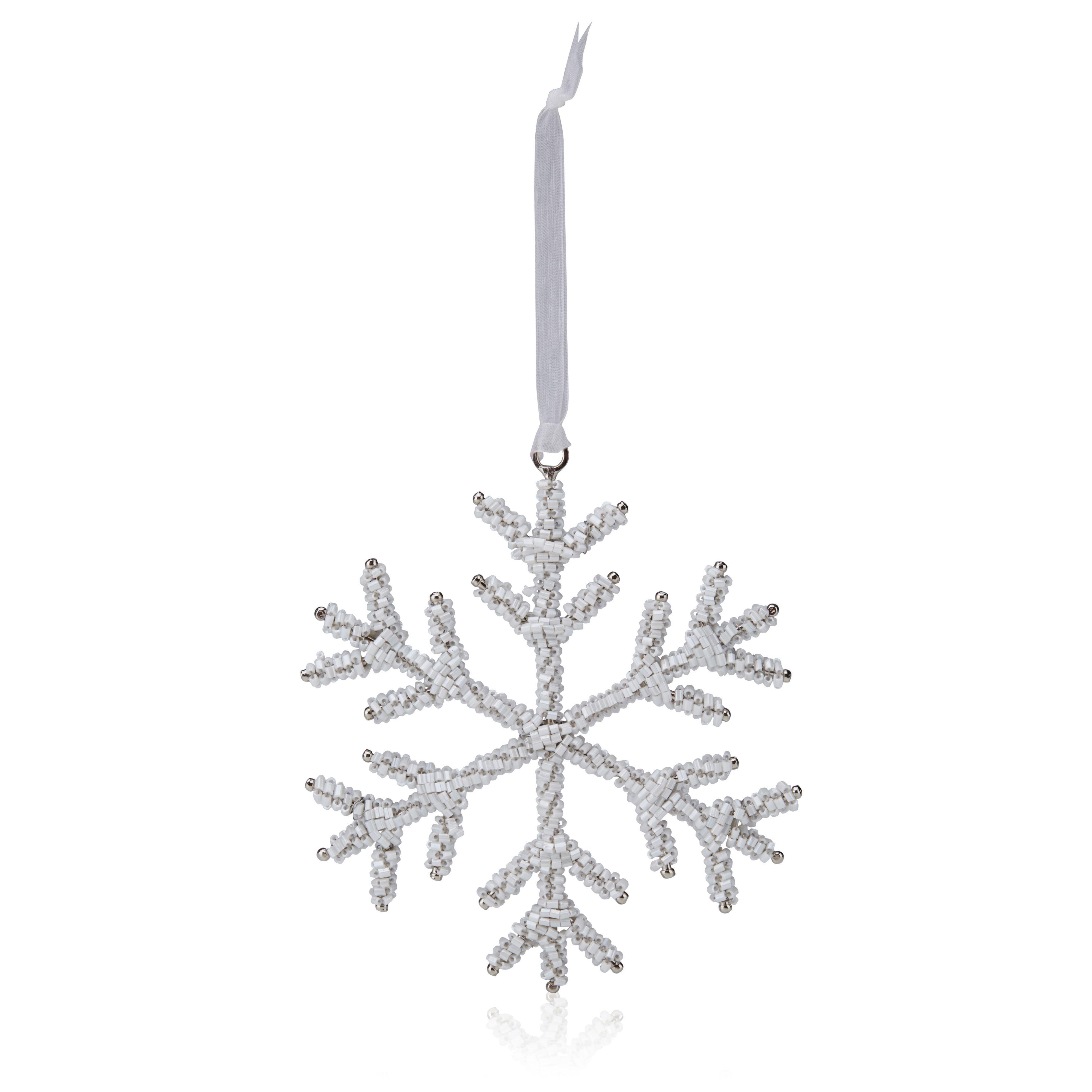Beaded White Snowflake Tree Decoration