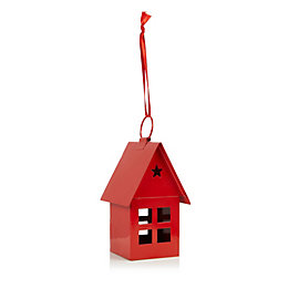 Red 3D Metal House Tree Decoration