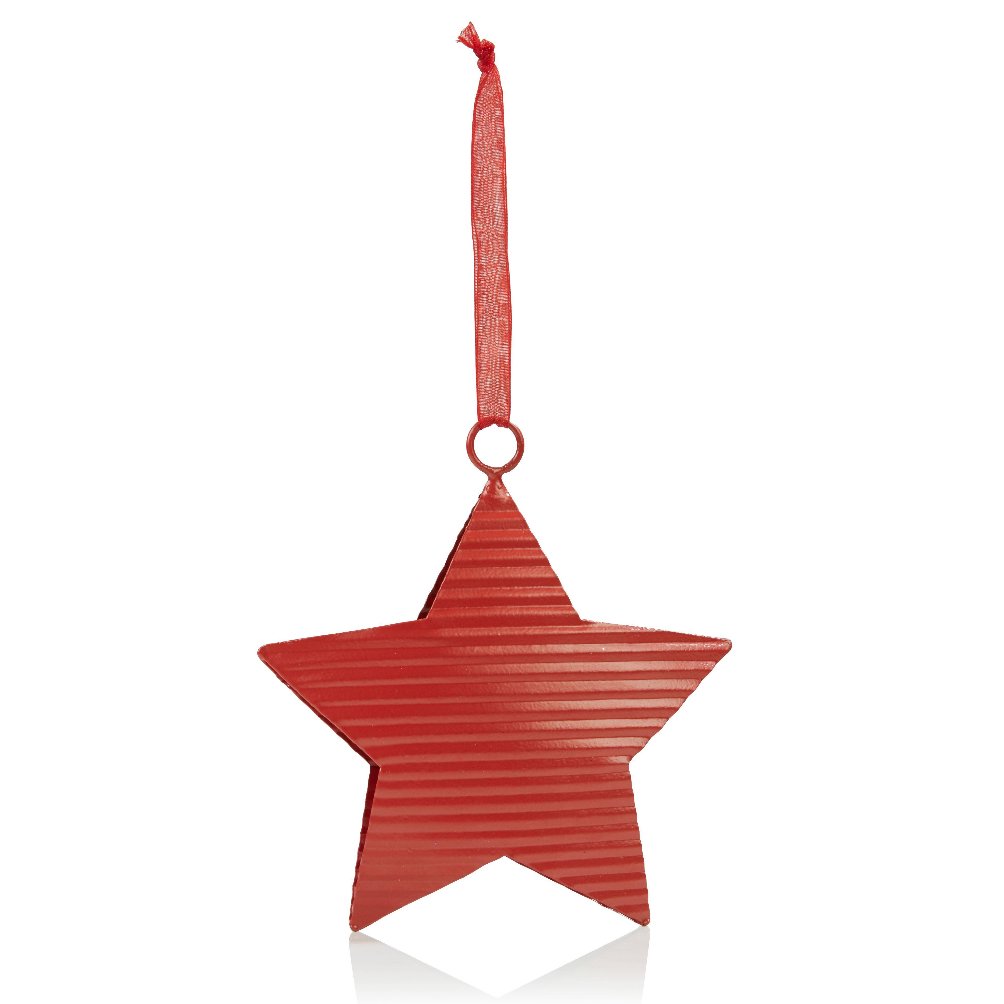 Corrugated Metal Red Star Tree Decoration