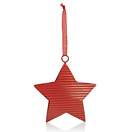 Corrugated Metal Red Star Tree Decoration
