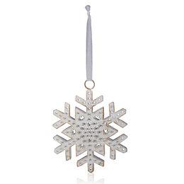 Distressed Finish White Snowflake Tree Decoration
