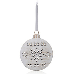 Distressed Finish White Bauble Tree Decoration