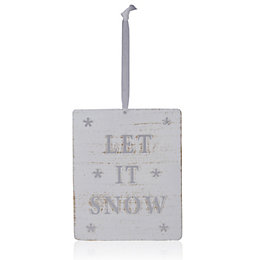 Distressed Finish White Let It Snow Tree Decoration