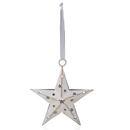 Distressed Finish White Star Tree Decoration