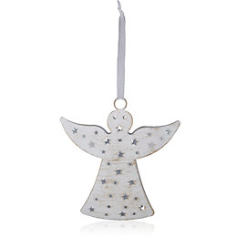 Distressed Finish White Angel Tree Decoration