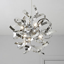 Heka Curled Chrome Effect 6 Lamp Pendant Ceiling