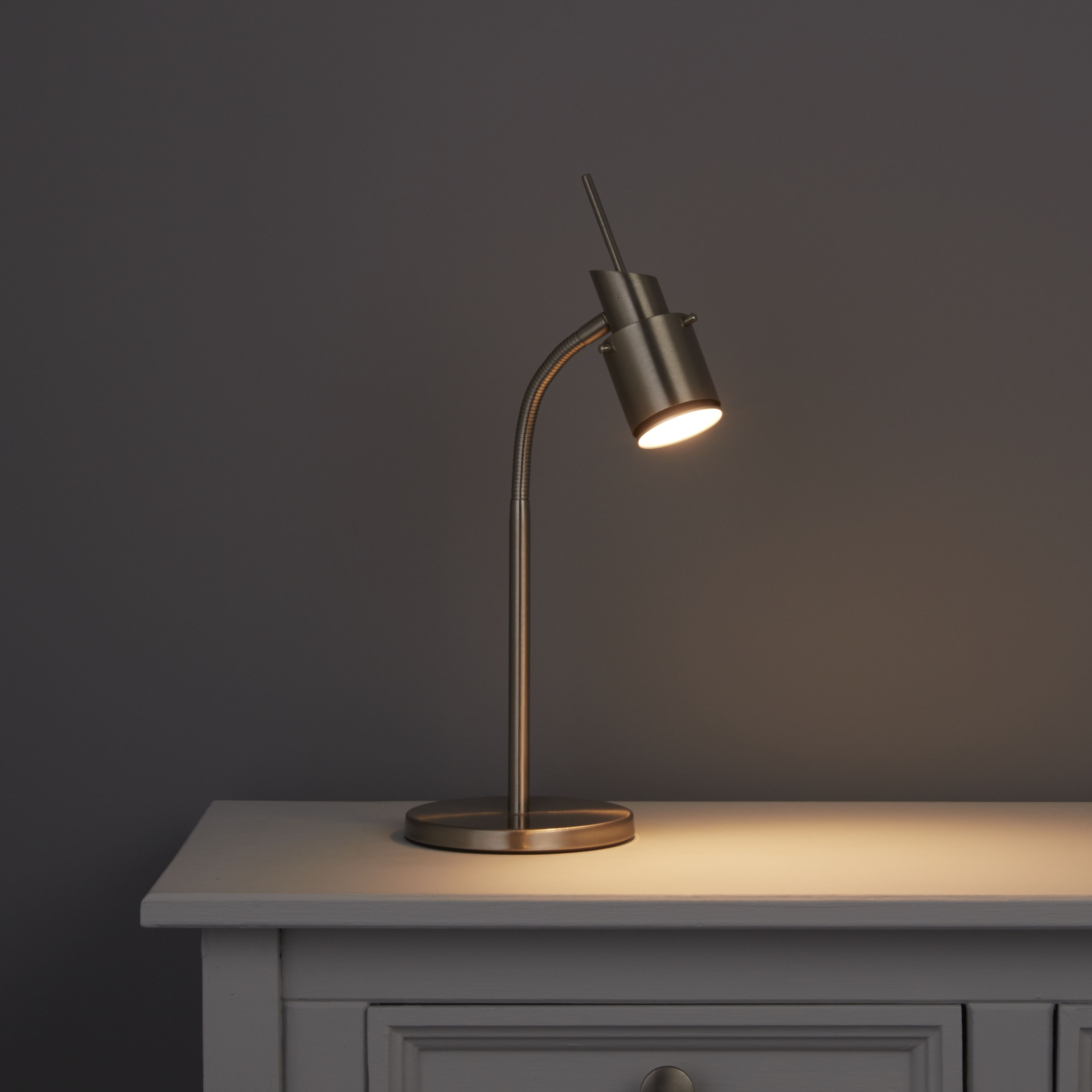 Ulysses Chrome Table Lamp: Annisa Satin Chrome Effect Table Lamp