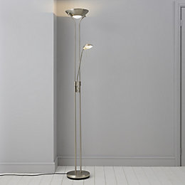 Mericourt Brushed Chrome Effect Floor Light