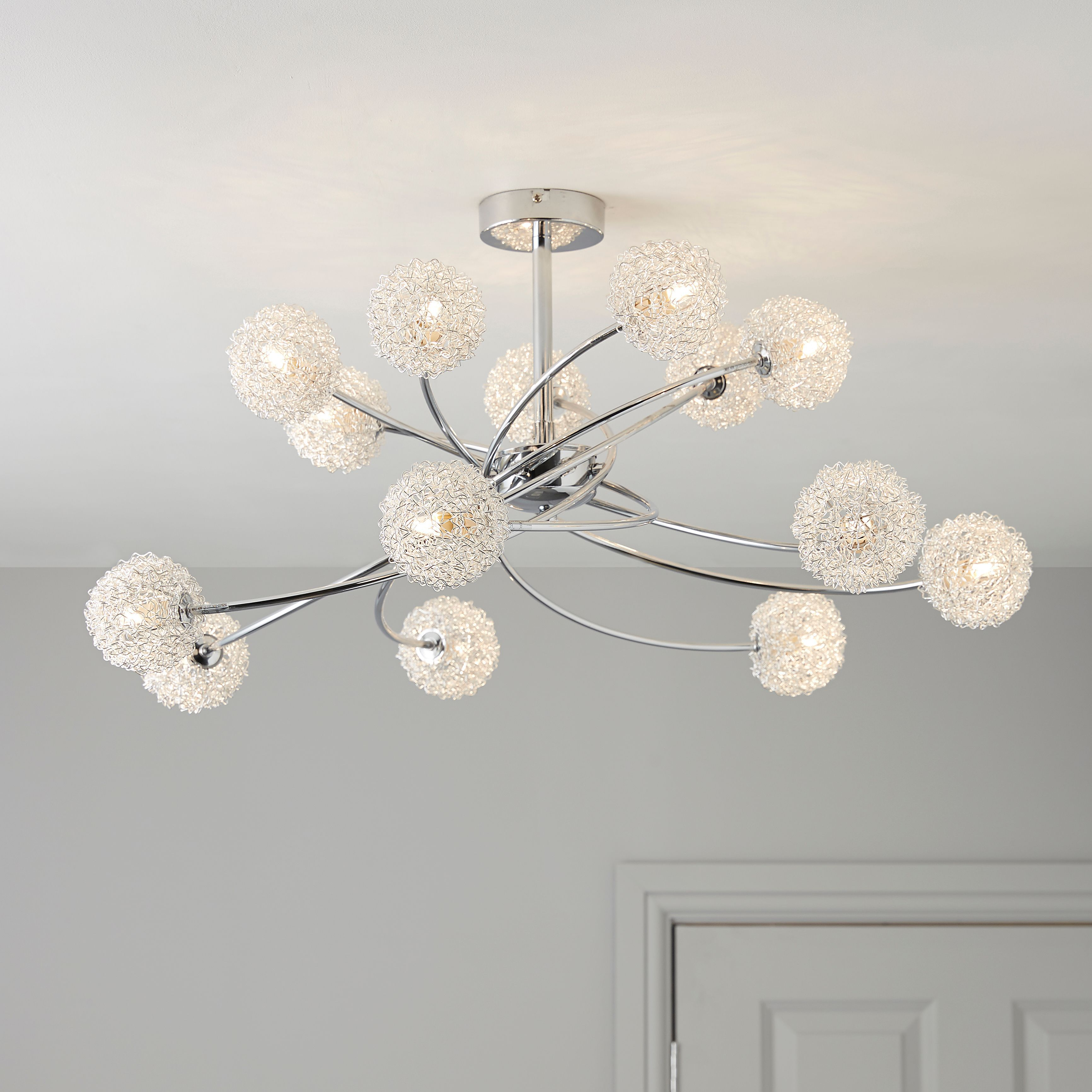 Pallas Chrome Effect 14 Lamp Ceiling Light