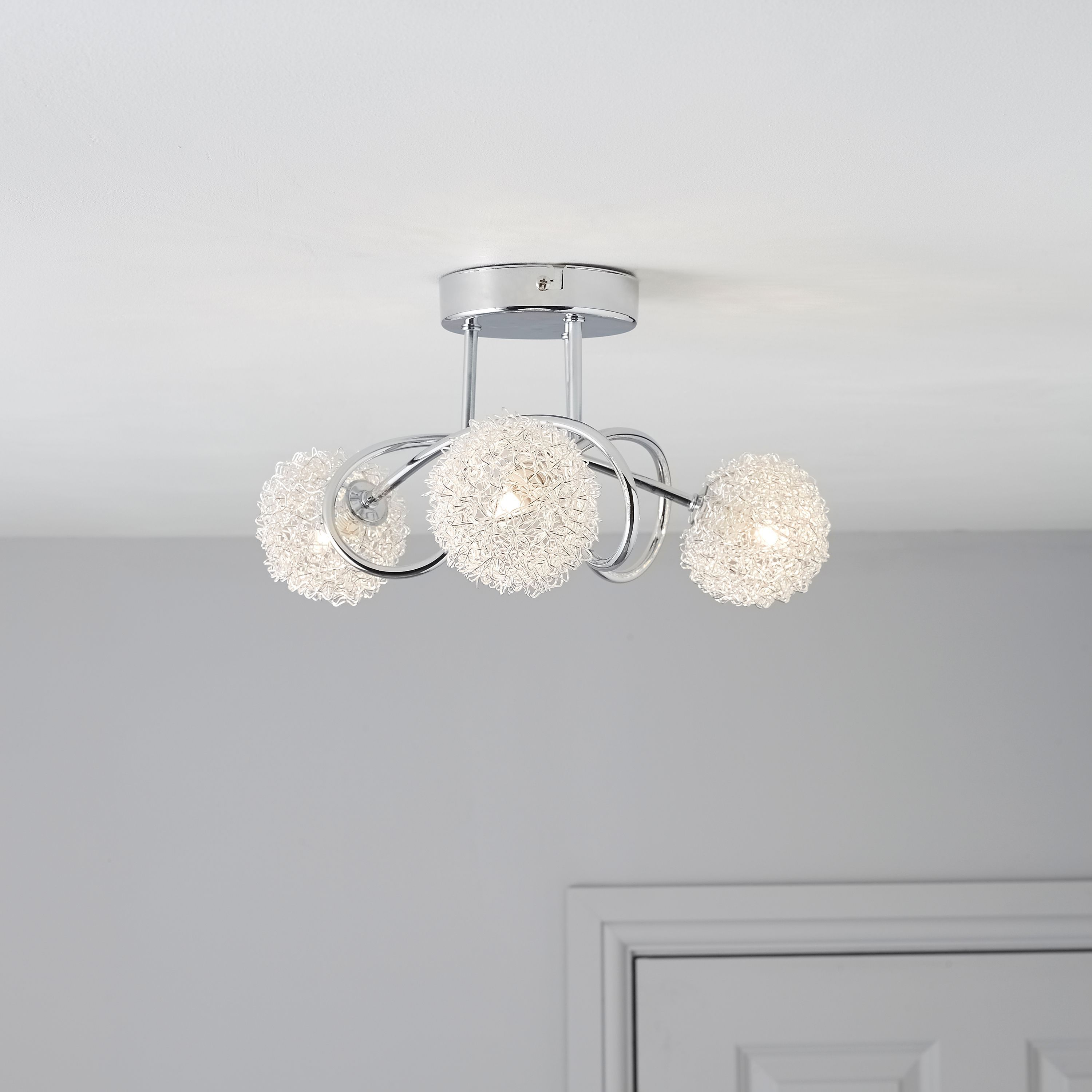 Pallas Chrome Effect 3 Lamp Ceiling Light