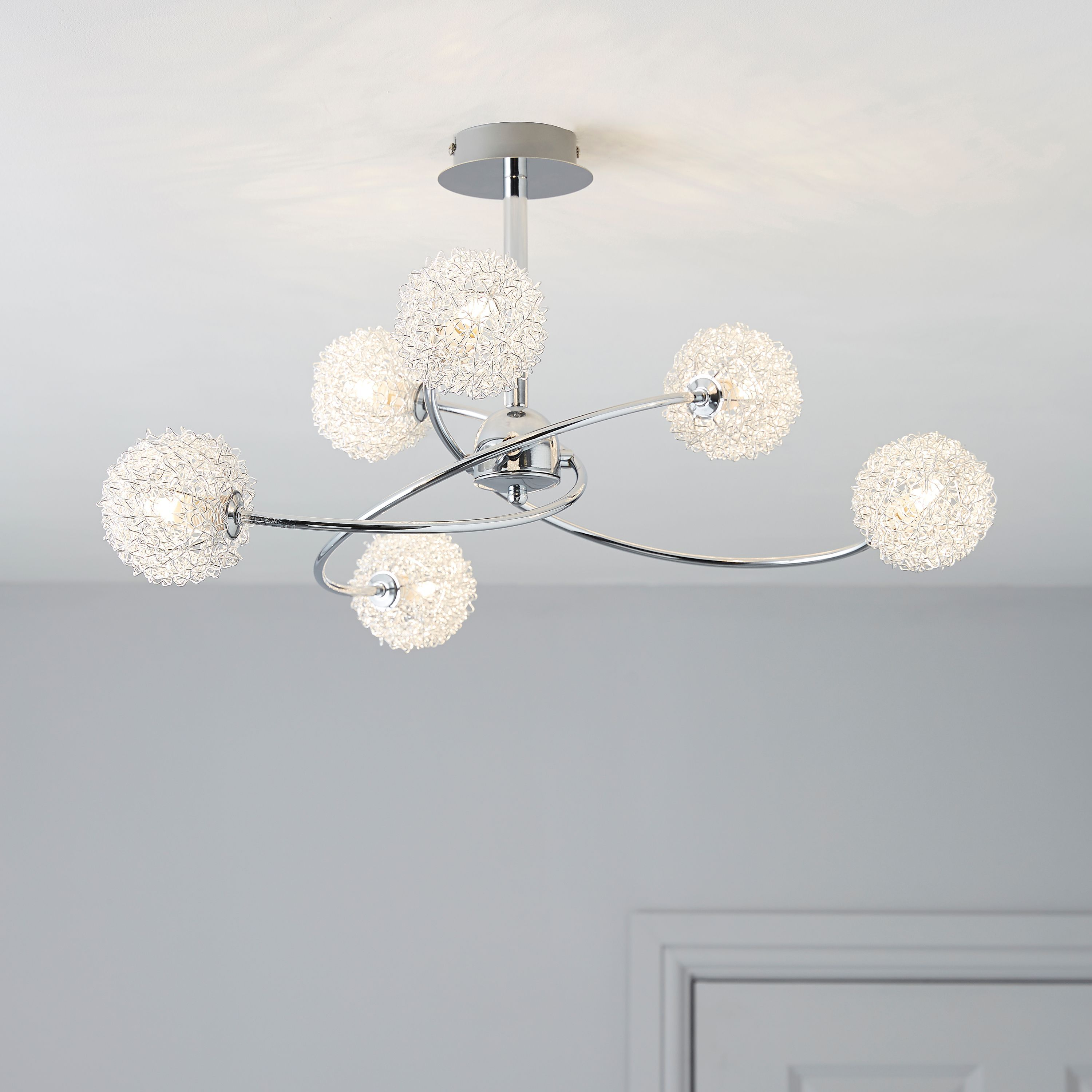 Pallas Chrome Effect 6 Lamp Pendant Ceiling Light