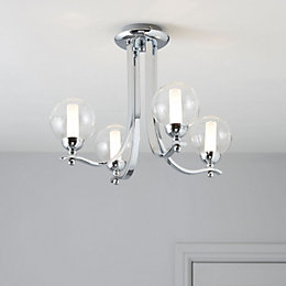 Giselle Glass Ball Chrome Effect 4 Lamp Ceiling