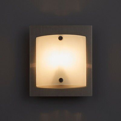 Meridian Curved Glass White Brushed Chrome Single Wall Light