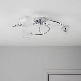 Ferro Spiral Chrome Effect 3 Lamp Ceiling Light