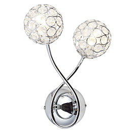 Lopez Silver Chrome Effect Wall Light