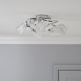 Borrello Swirl Chrome Effect 5 Lamp Ceiling Light