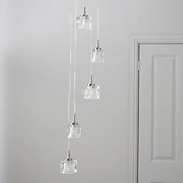 Borrello Ice Cube Clear 5 Lamp Pendant Ceiling
