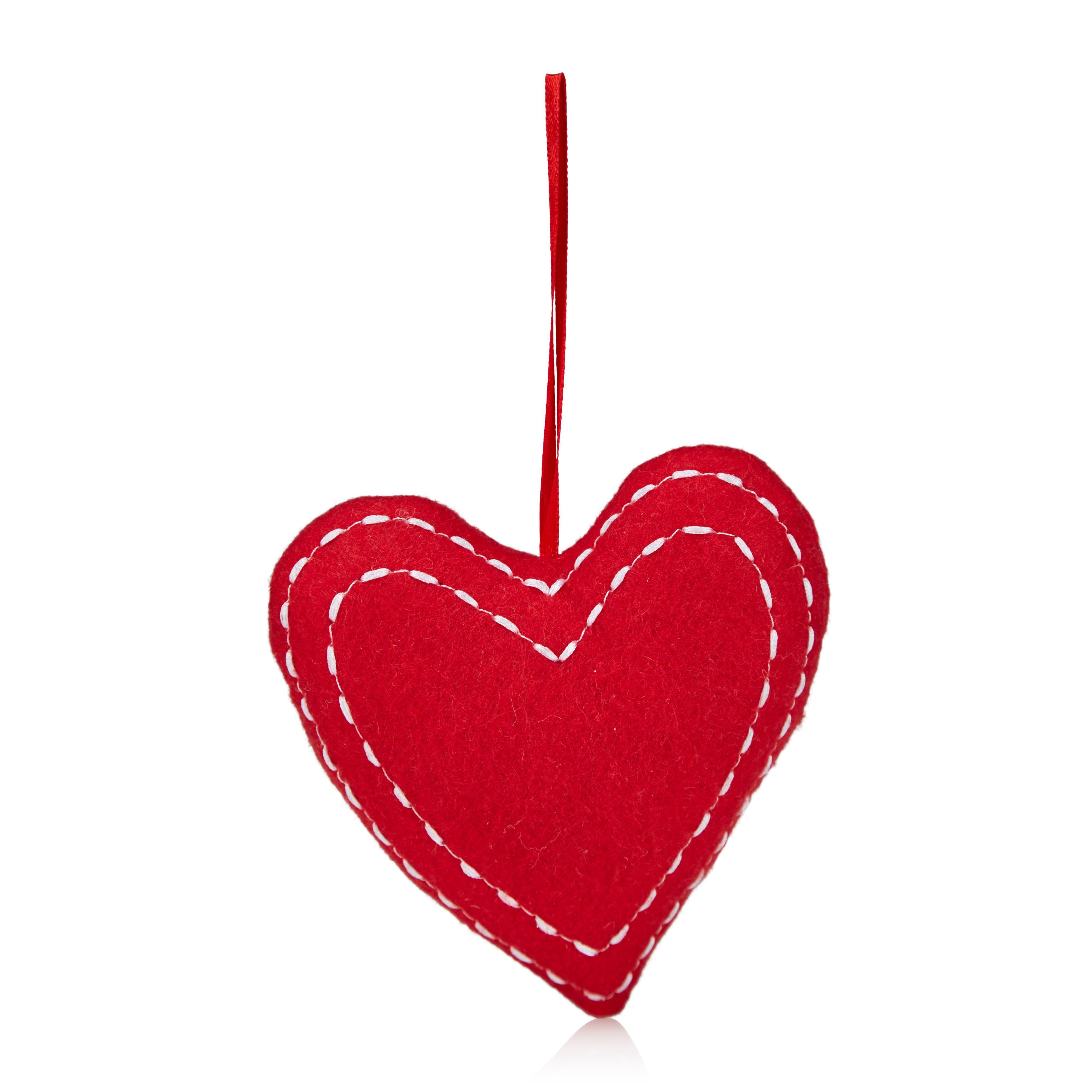 Felt Red Heart Tree Decoration