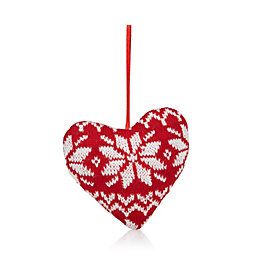 Knitted Red Heart Tree Decoration