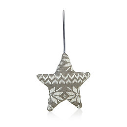 Knitted Grey Star Tree Decoration