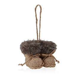Natural Fur Lined Booties Tree Decoration