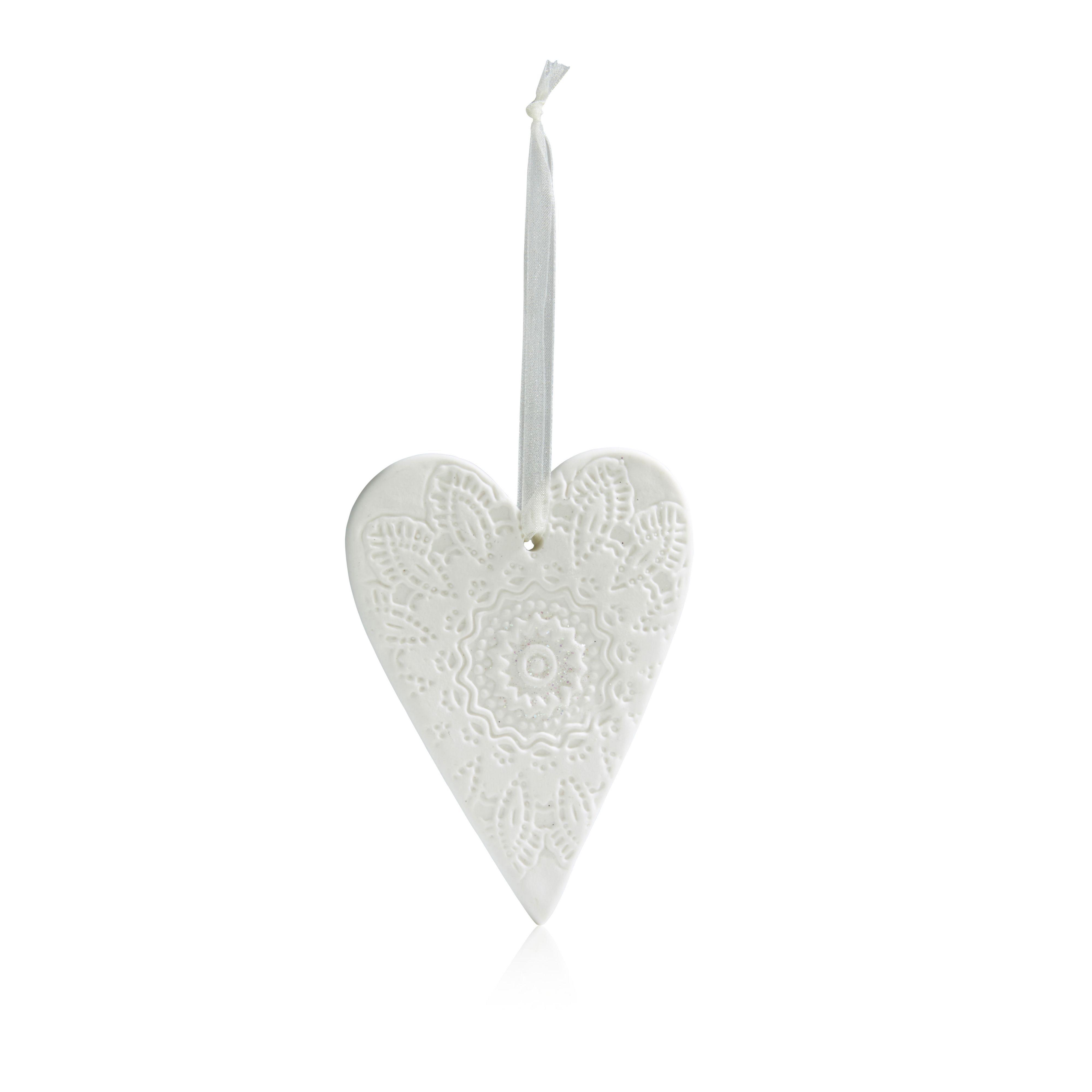 Ceramic White Heart Tree Decoration | Departments | DIY at B&Q