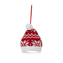 Knitted Red Nordic Hat Tree Decoration