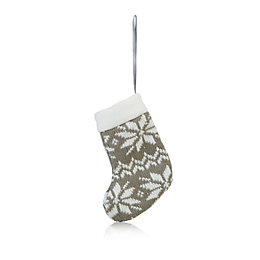 Knitted Grey Nordic Stocking Tree Decoration