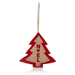 Felt Red & Natural with Noel Tree Decoration