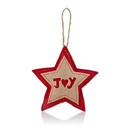 Felt Red & Natural Star with Joy Tree