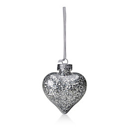Clear Heart with Silver Star Confetti Bauble