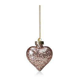 Clear Heart with Champagne Star Confetti Bauble