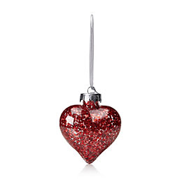 Clear Heart with Red Star Confetti Bauble