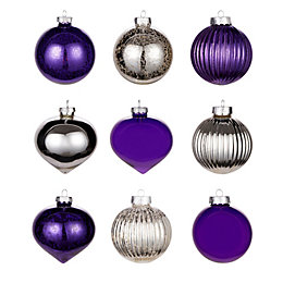 Purple & Silver Glass Baubles, Pack of 9