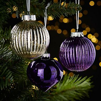 purple decorations on a tree