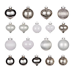 Clear & Silver Glass Assorted Baubles, Pack of