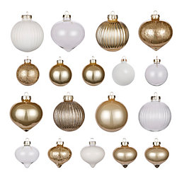 Champagne, White & Clear Glass Assorted Baubles, Pack