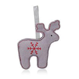 Felt Grey Embroidered Reindeer Tree Decoration