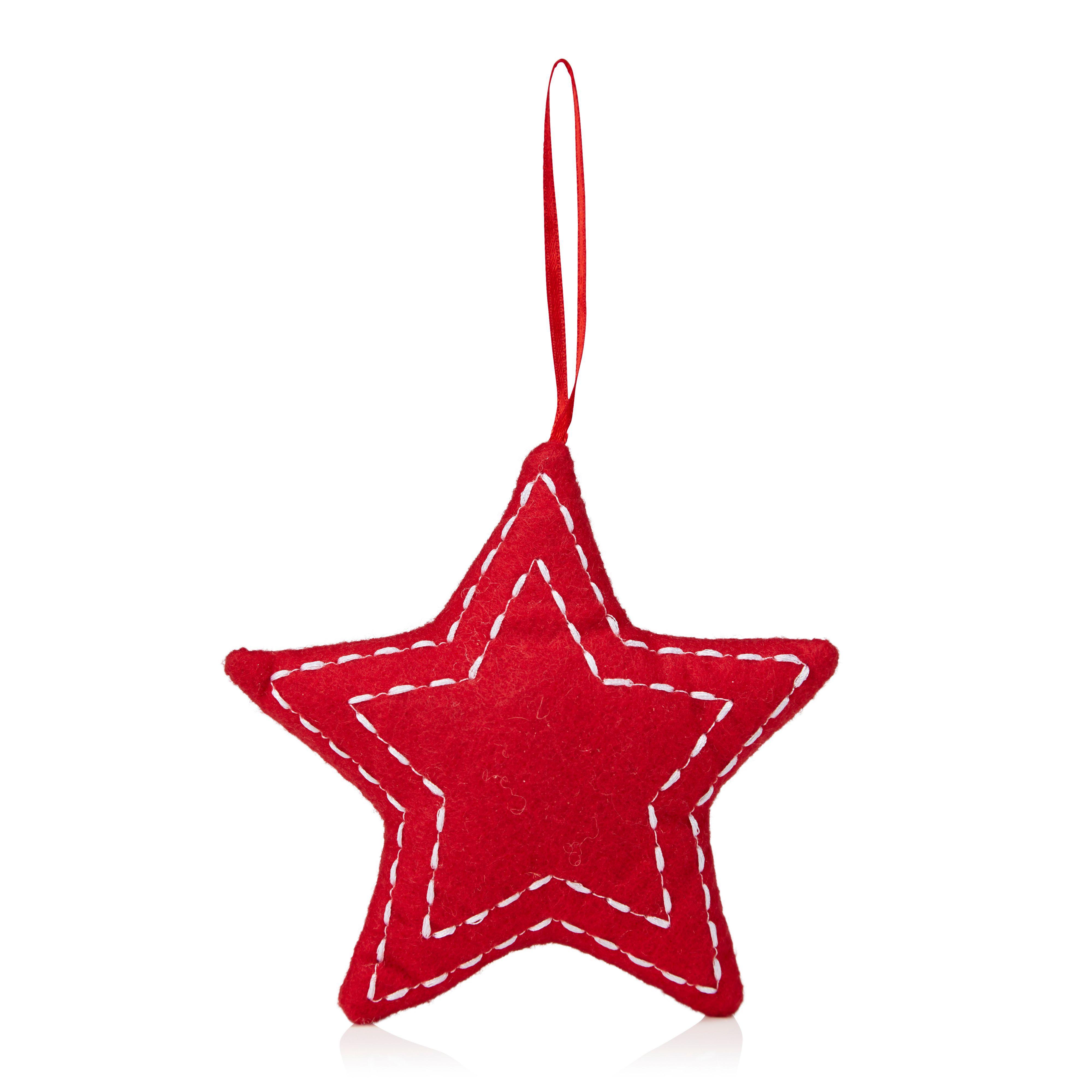Felt Red Star Tree Decoration