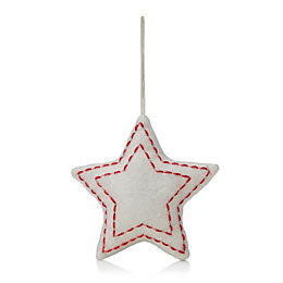 Felt Cream Star Tree Decoration