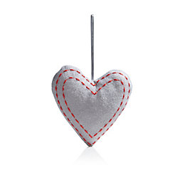 Felt Grey Heart Tree Decoration