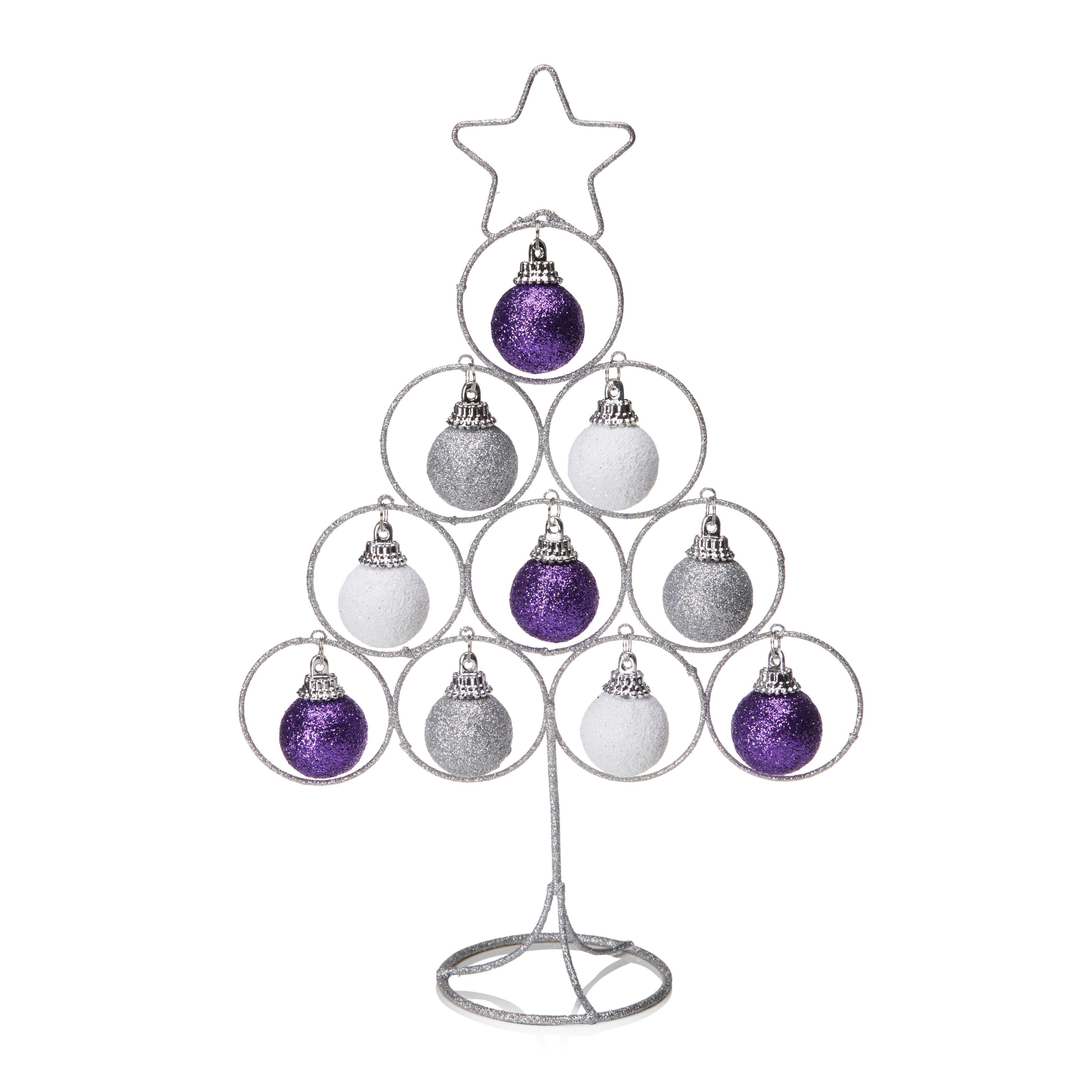 Purple, Silver & White Glitter Tree Decoration